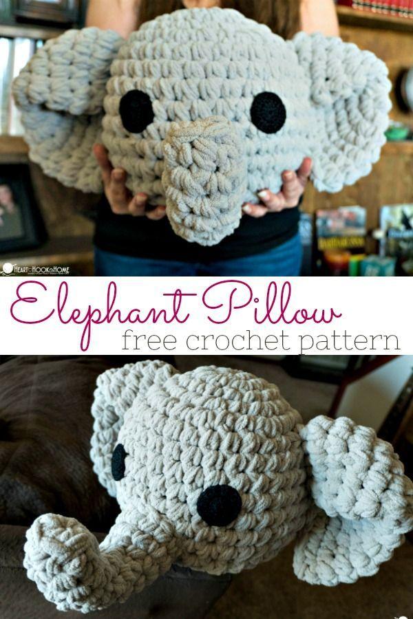 Elephant Pillow Free Crochet Pattern