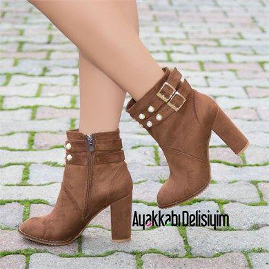 Verja Suet Taba Kalin Topuklu Bot Bootie Shoes Heels Pearl Topuklular Bot Bayan Ayakkabi