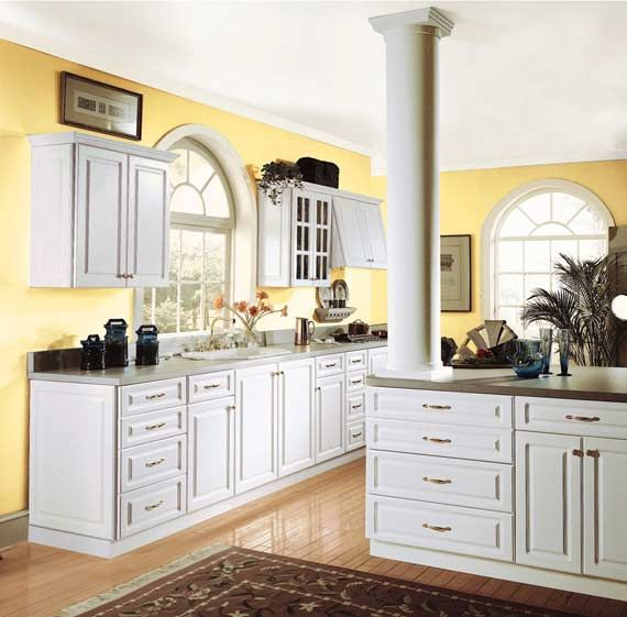 excellent white kitchen yellow accents | Yellow walls with white cabinets.... Would do white ...