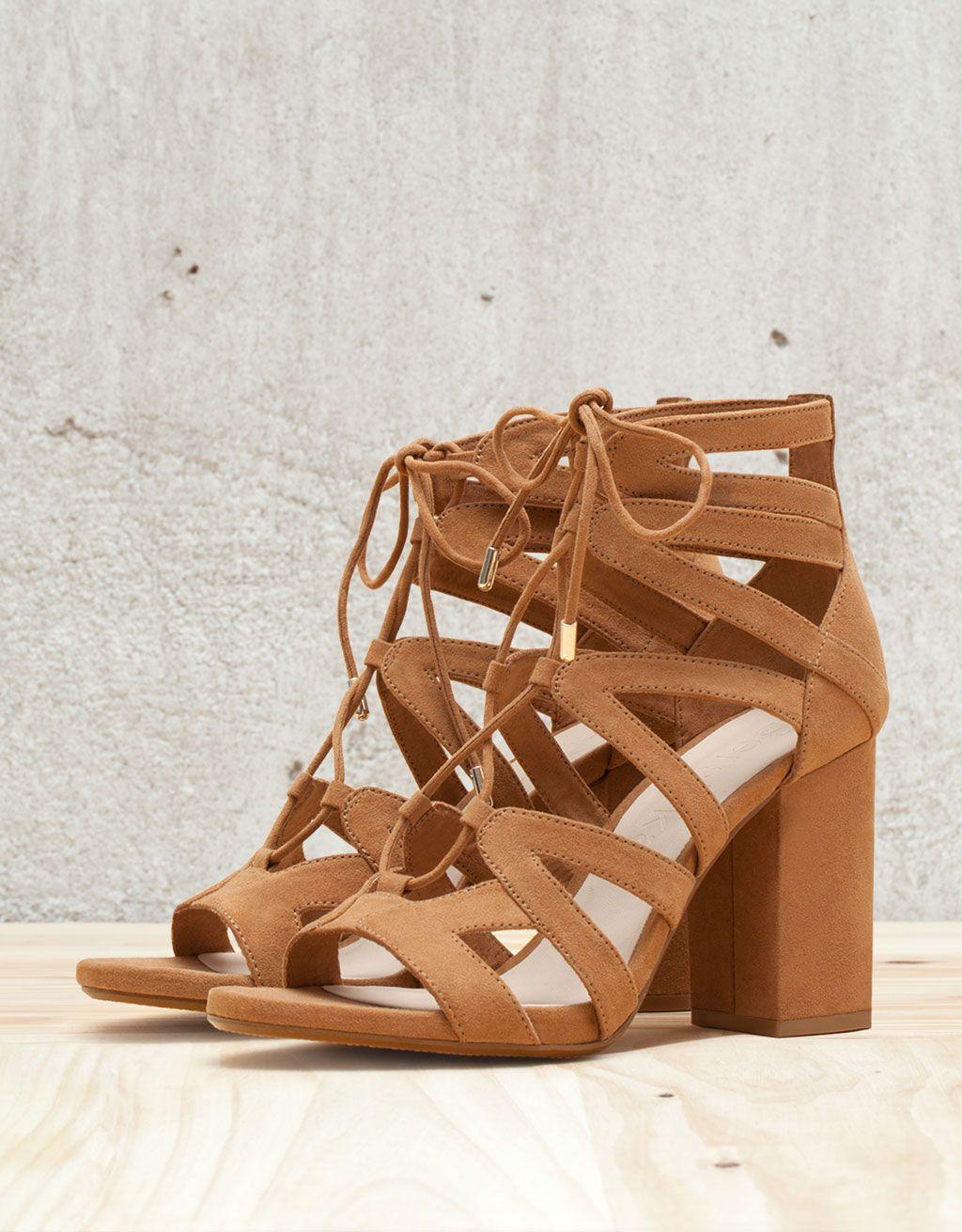 8dee037e96bb Tied heeled sandals - Shoes - Bershka Taiwan