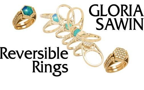 Reversible ring by Gloria Sawin. Available in   Sterling and Gold with your choice of stones. Award-winning designs.