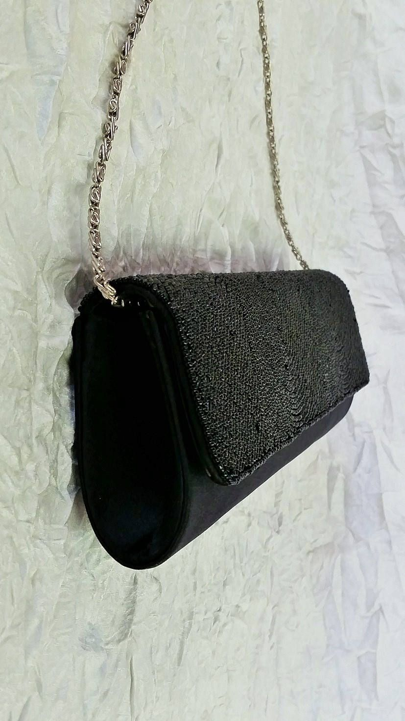 Structured Evening Bag Purse Black Beads Satin Silver Wristlet Chain