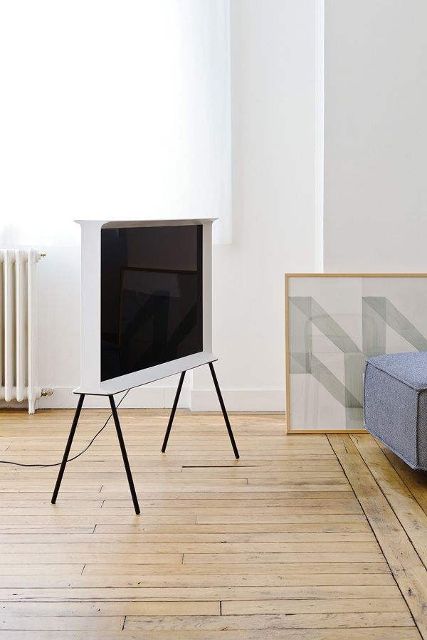 flat screen tv, interiors, living room, wood floors, white walls ...