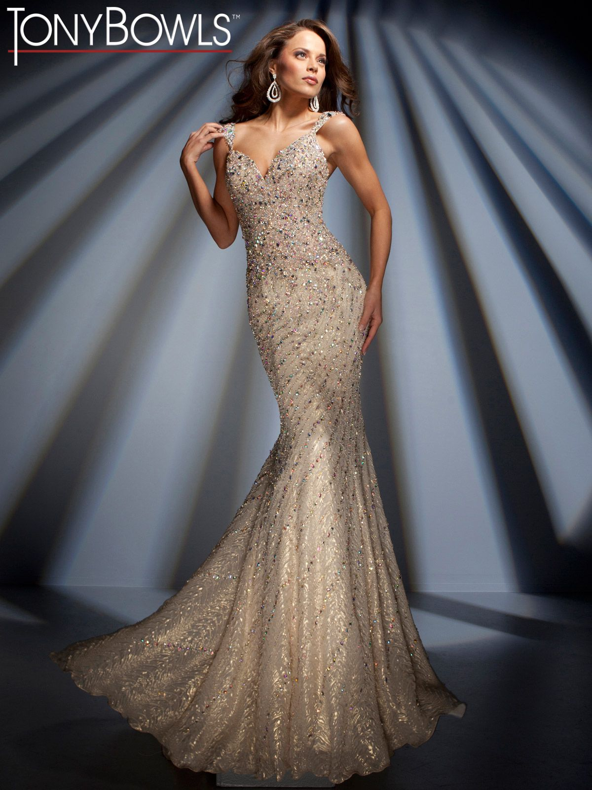 Long Formal Mermaid Dress In Beige With Swirls Of Rhinestone Sequins From Tony Bowls