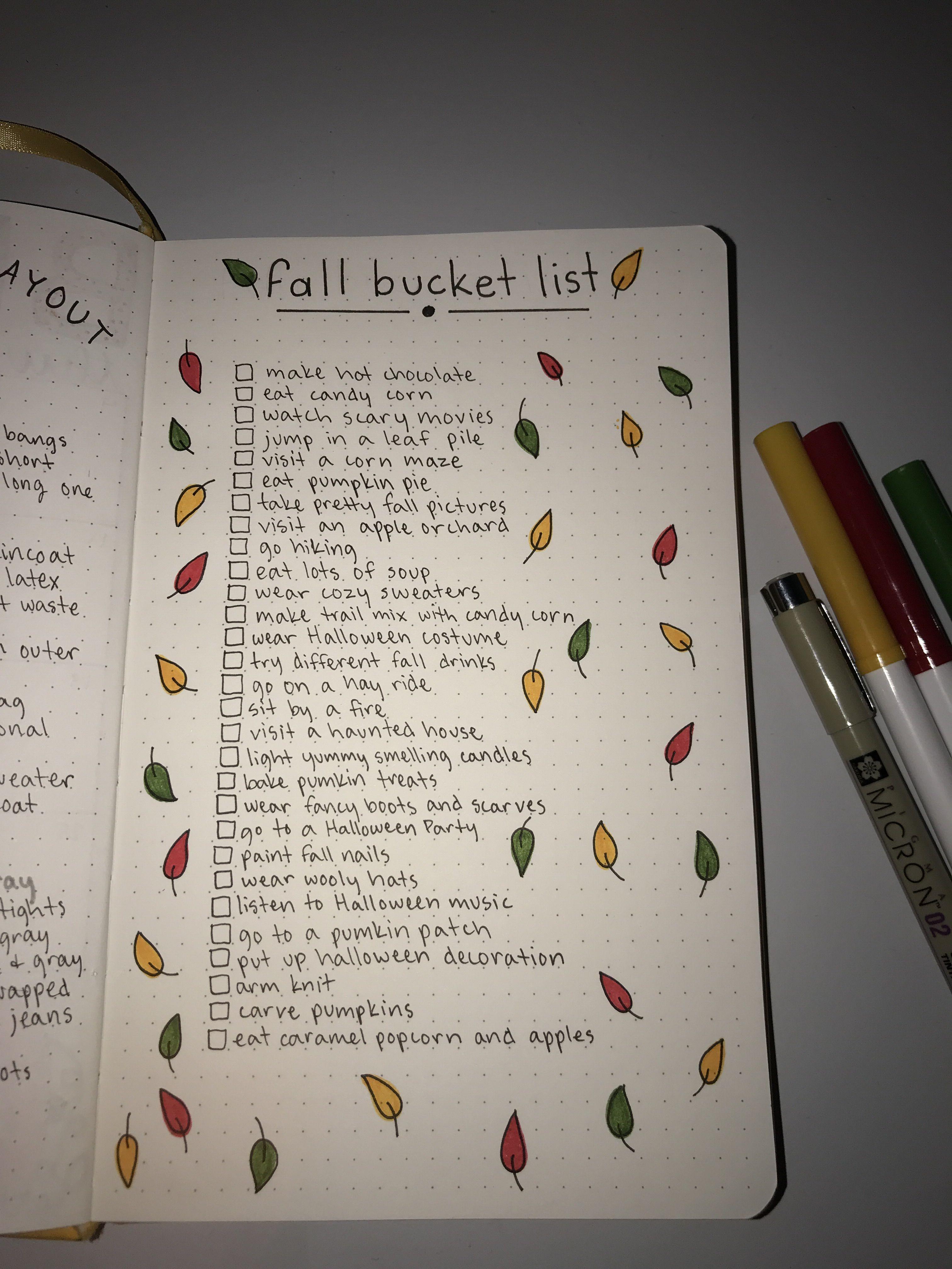Fall Bucket List For Bullet Journal Fall Bucket List Bullet Journal Bullet Journal Ideas Pages