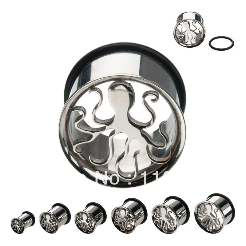 Sold as a Pair Skull /& Crossbones Hollow 316L Surgical Steel Single Flared Ear Plug