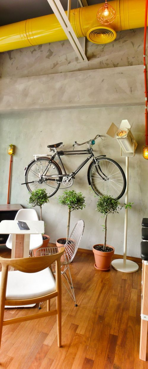 Cello In Greece Rustic Cafe Design By Studio Lime 05 TH: Old Bikes On Walls  Are So In Fashion, Check Out The Latest Greggs The Bakery.