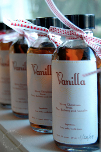 Homemade vanilla! Only three ingredients: love, vodka, and vanilla.