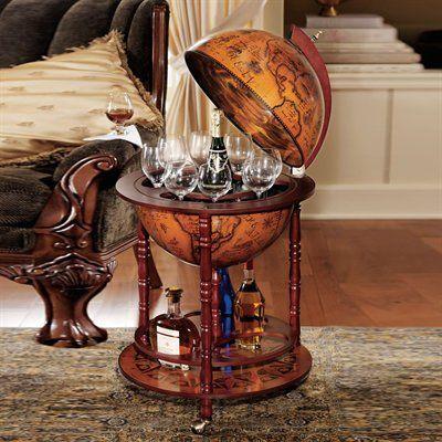 Basil Street Gallery Sj45001 Sixth Century Italian Replica Globe Bar Table