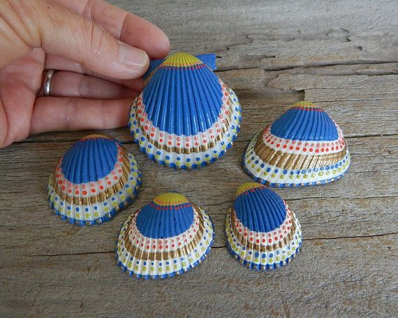 Natural Seashells Dot Paint Art Set Of 5 Handpainted Sea
