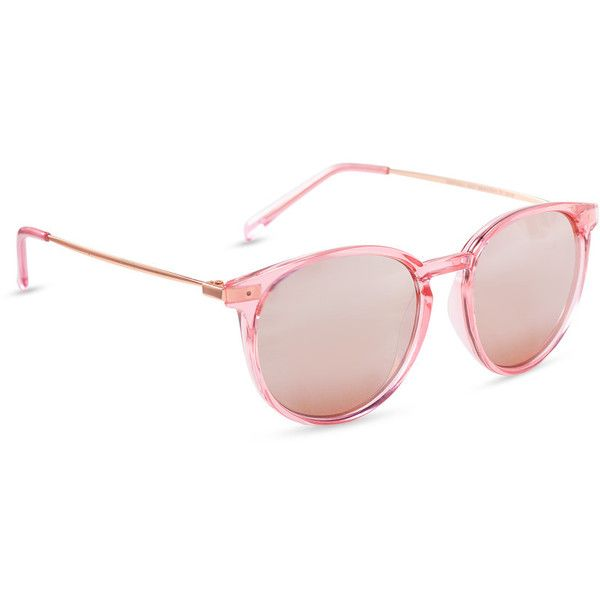 Aeropostale Keyhole Round Sunglasses (140 MXN) ❤ liked on Polyvore featuring accessories, eyewear, sunglasses, pink, round frame glasses, keyhole glasses, pink glasses, keyhole bridge glasses and aéropostale