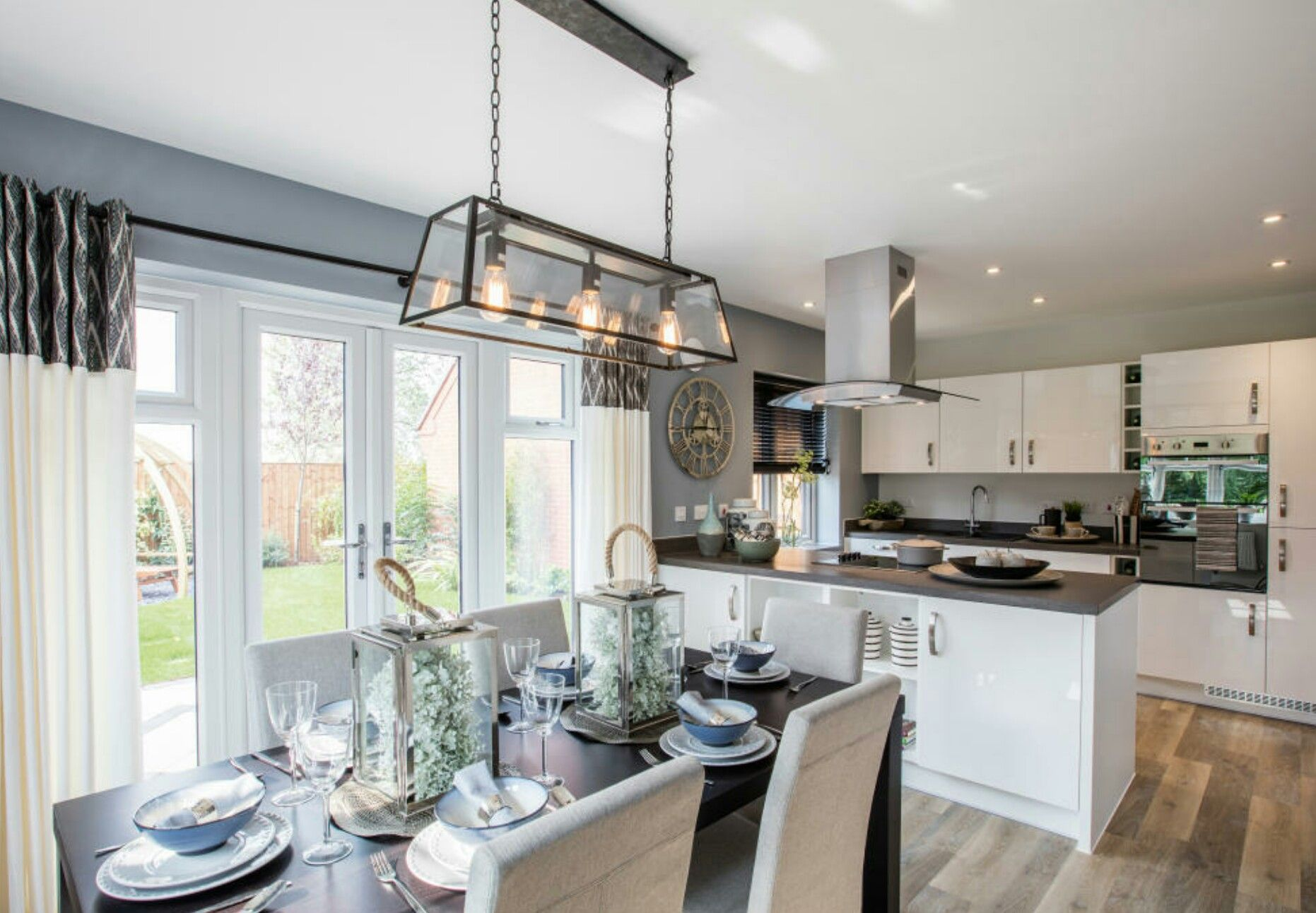 interior designed showhome. modern open plan kitchen living dining