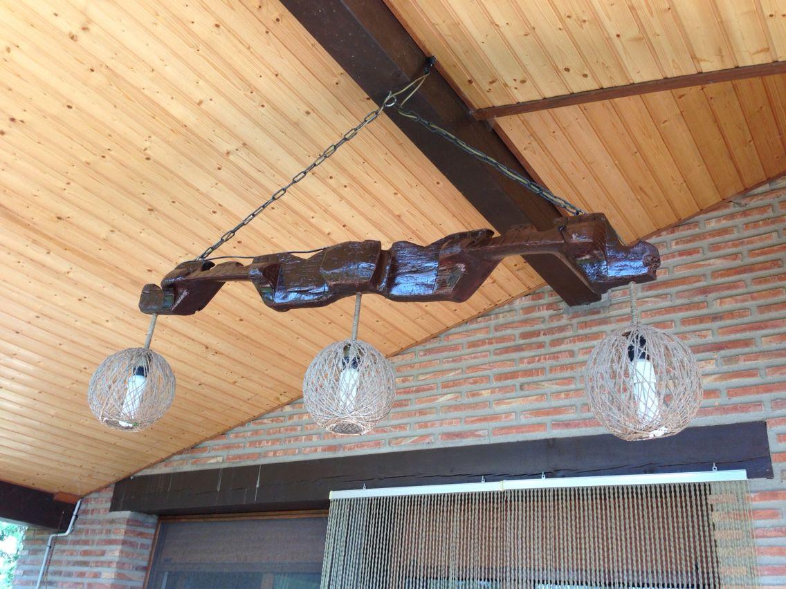 Lampara con yugo y tulipas de cuerda artesanias for Adornos colgar pared