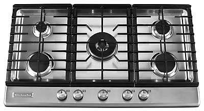 36 inch 5 burner gas cooktop architect series ii kfgs366vss