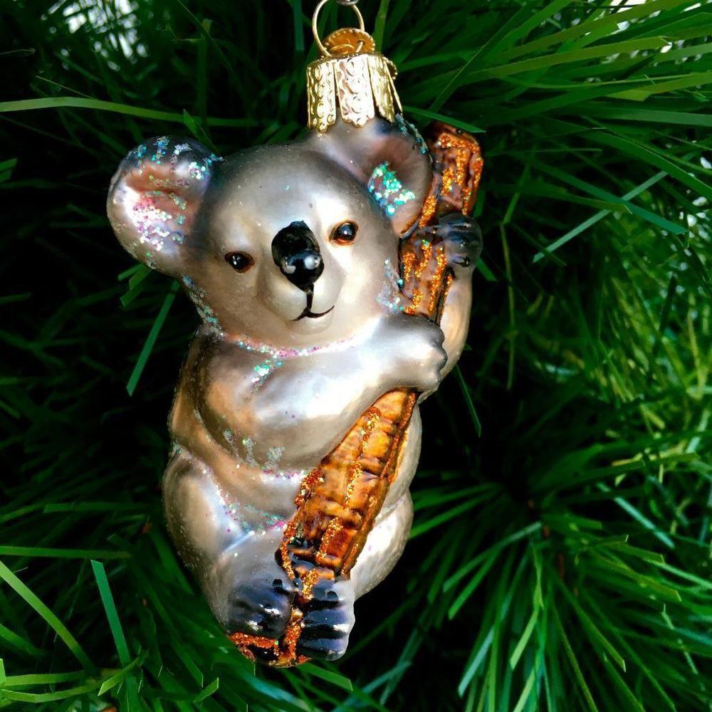 OLD WORLD CHRISTMAS BUNNY Koala BEAR~~GLASS CHRISTMAS ORNAMENT ...