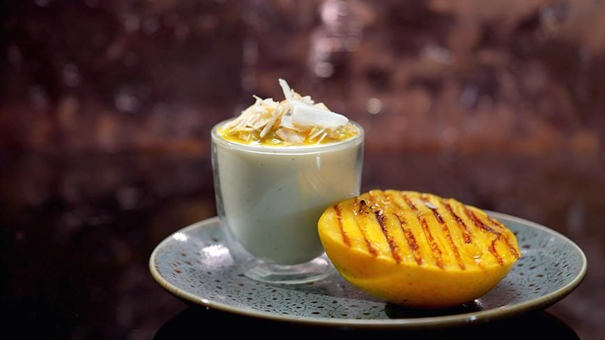 Buttermilk Jelly With Grilled Mango Recipes Chocolate Bowl My Kitchen Rules