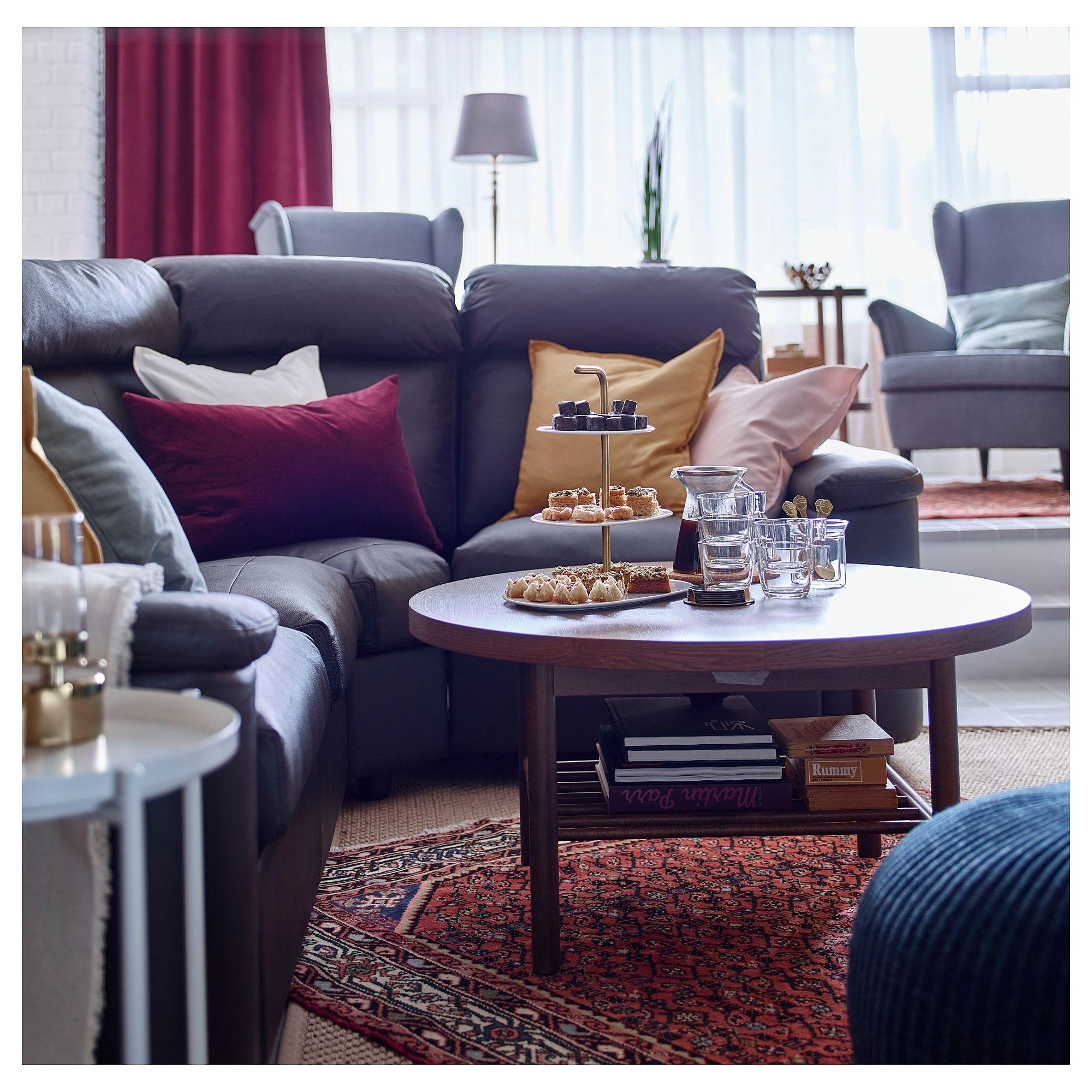 IKEA LISTERBY Coffee table brown Light blue sofa
