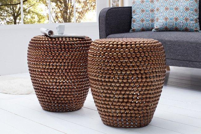 Stilvoller Beistelltisch Pearls 50 Cm Kupfer Ethno Stil Hocker