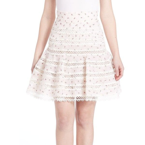 Zimmermann Mischief Rosebud Skirt ($1,000) ❤ liked on Polyvore featuring skirts, apparel & accessories, ditsy floral, lace skirt, floral lace skirt, long crochet skirt, stripe skirt и striped skirt