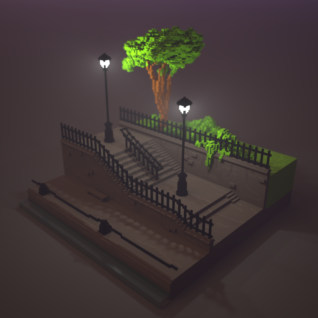 stairs made with #magicavoxel  #voxelart #voxel #fog | Drawing - Art
