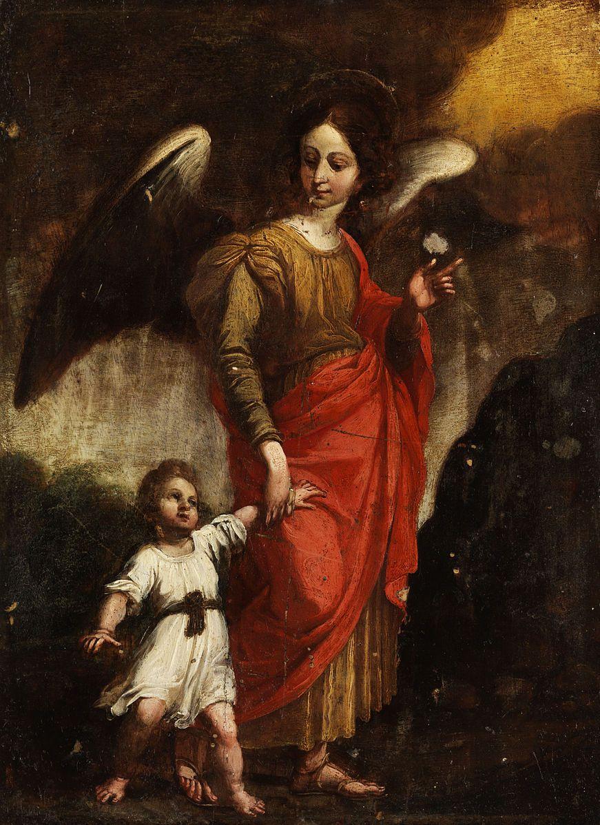 Ange gardien Raphael avec un bébé, peintre de l'école florentine du début du 17e siècle