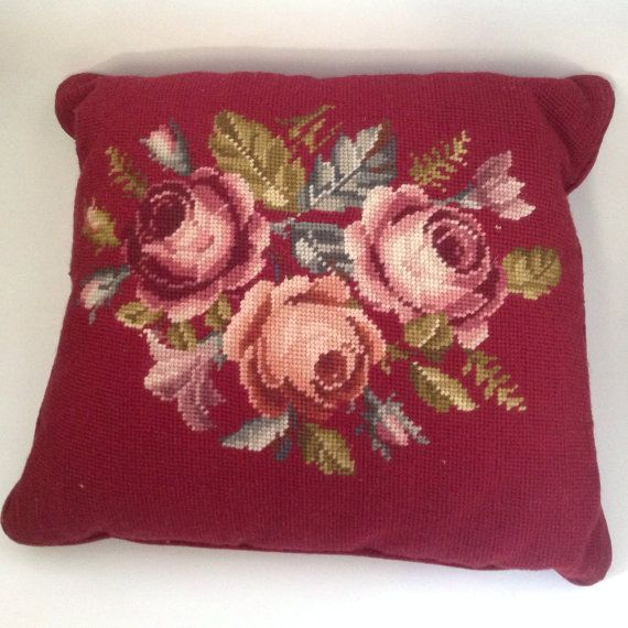 Beautiful Vintage Roses Needlepoint Pillow/Maroon Rose Needlepoint Pillow/ Vintage Decorative Pillow/Vintage Floral Needlepoint Decor/Roses