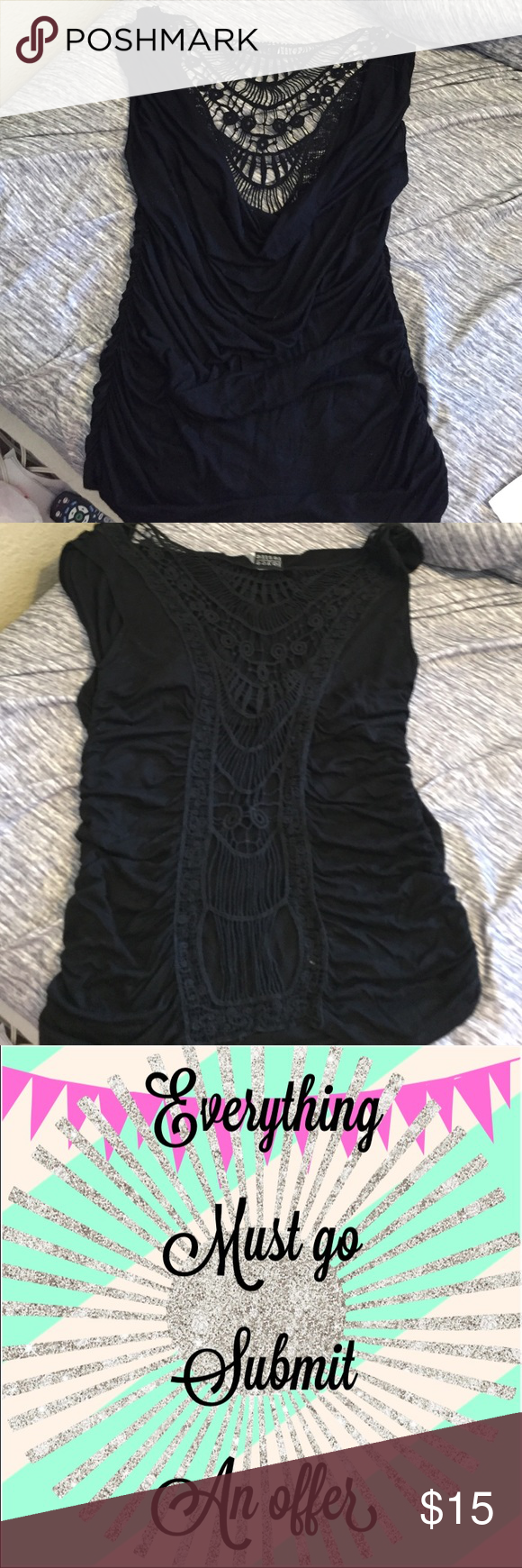 ⭐️ Submit an offer ⭐️ Sexy black top, fabric shows wear Joyce Leslie Tops