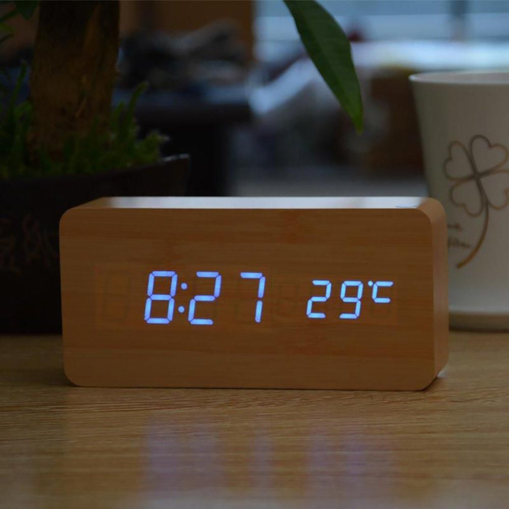 Fibisonic Alarm Clocks With Thermometer Wood Wooden Led Clocks
