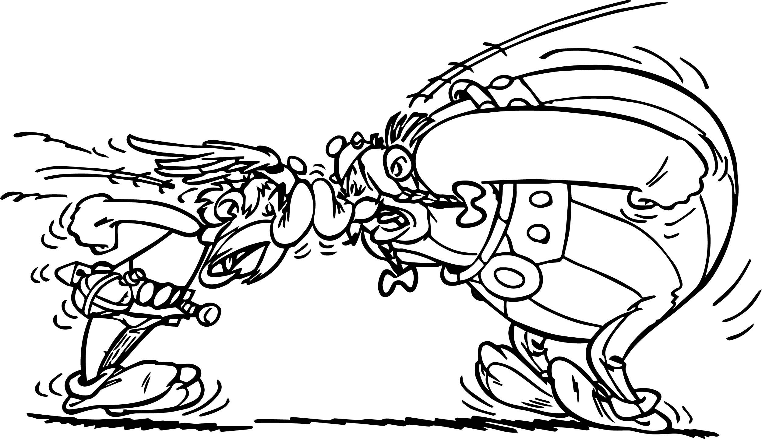 awesome asterix obelix streit coloring page  streit