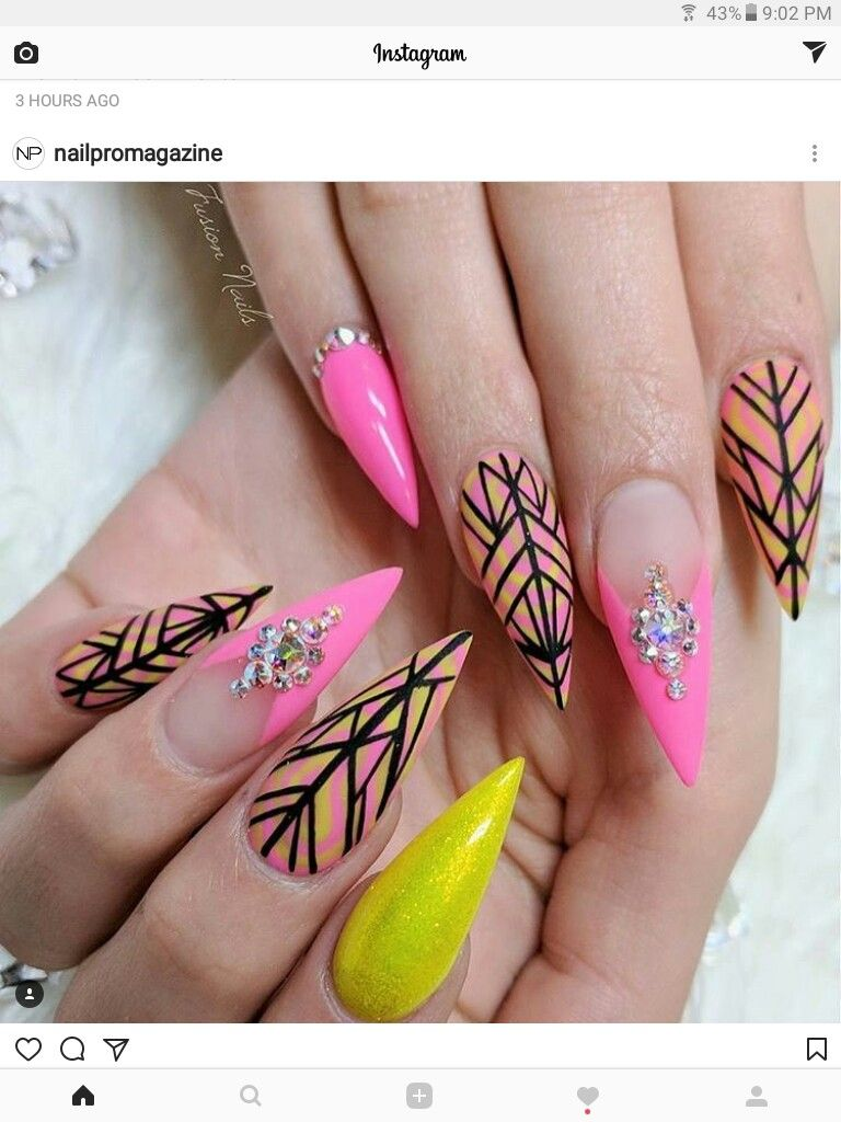 A bit pointy but the designs are nice | Nails | Pinterest | Nail ...