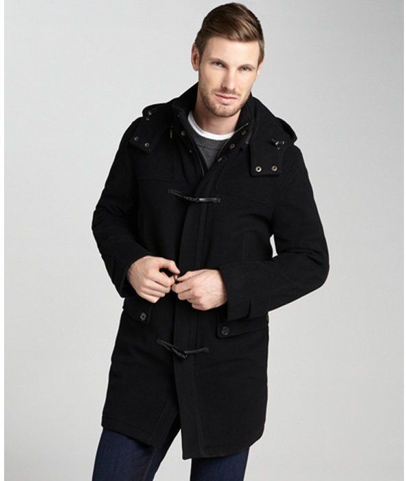 Black hooded toggle coat