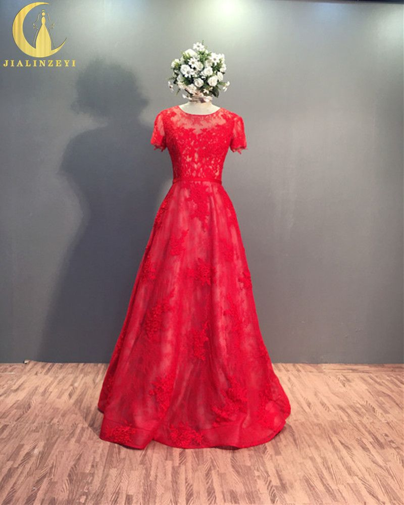 Click to buy ucuc rhine real sample short sleeves lace appliques a