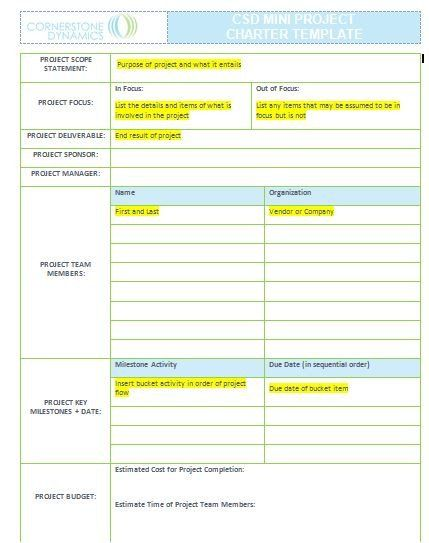 CSD Mini Project Charter Reference mind body soul care - project charter template