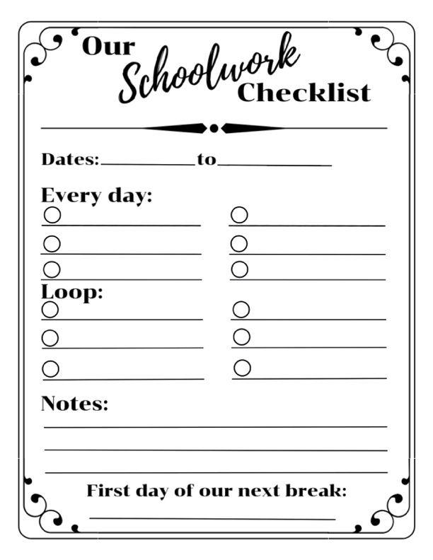 This is an image of Fan Loop Schedule Printable