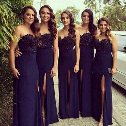 Navy Blue Bridesmaid Dress Long Sweetheart Side Pd121 Wedding Bridesmaids Pinterest