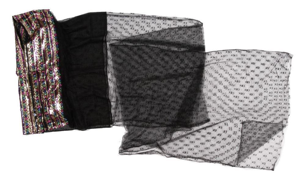 Saudi vintage veil, Riyadh area. Dimensions : 88 x 640 x 0,1 cm, 240 g From http://collections.quaibranly.fr/#4c87f767-4506-4a80-8371-2456bb2e66d3