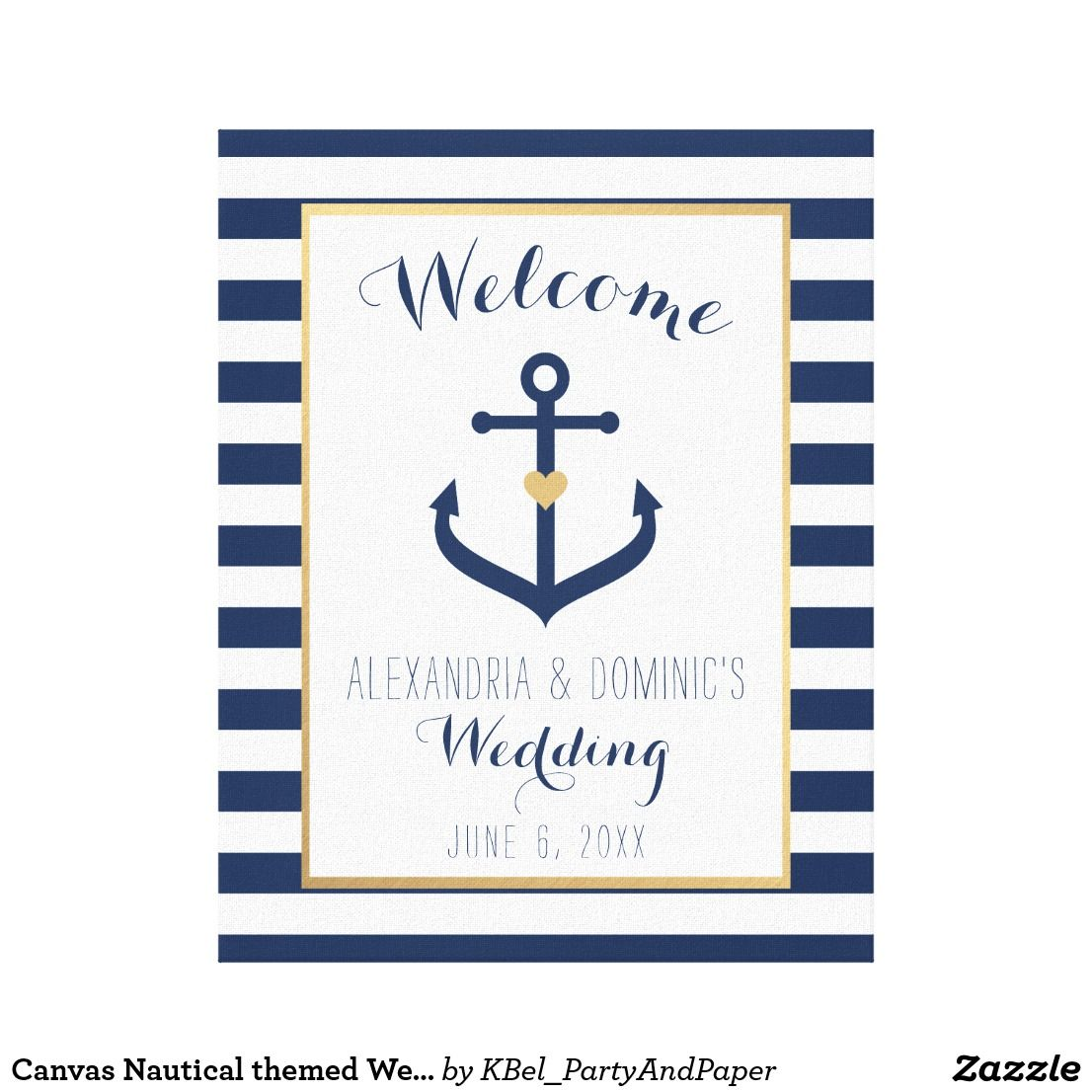 Canvas nautical themed wedding welcome sign navy decor and favor