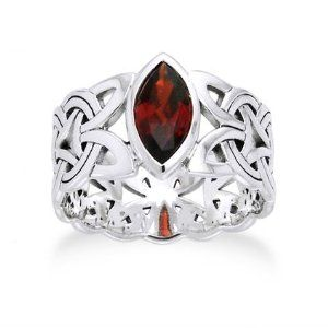 borre knot garnet ellipse viking braided wedding band norse celtic sterling silver ringsizes large marquise deep red garnet wide and thick - Norse Wedding Rings