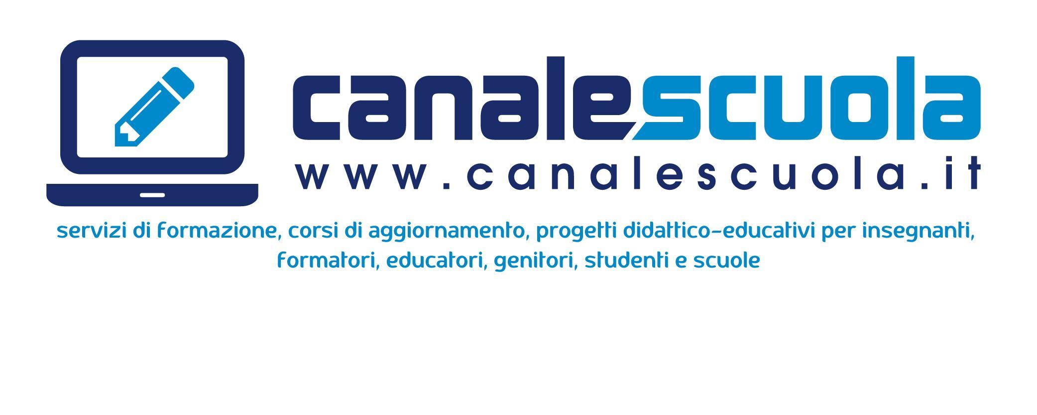 logo di canalescuola con claim Scuola, Insegne e Educazione