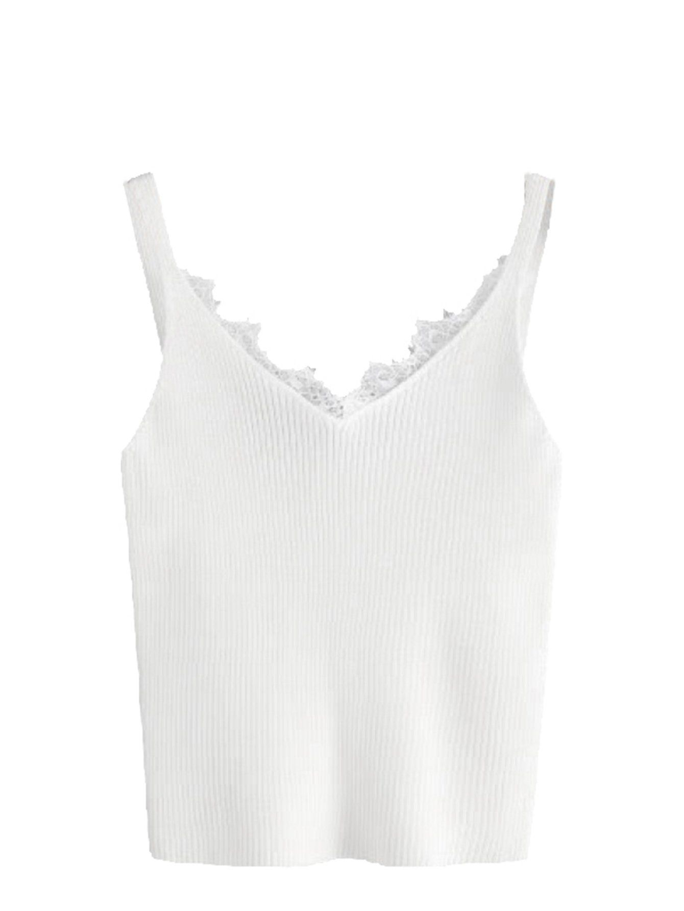 8979223bb06dd9 MakeMeChic Women V Neck Lace Trim Sleeveless Knit Cami Tank Crop Top 2  OneSize White   You can find out more details at the link of the image.