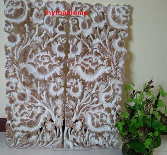 White Pair Romantic Bed Headboard 35 5 X 13 50 Teak Wood