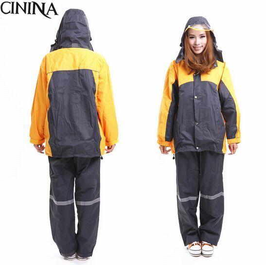 c18baf9f603c Fashion nylon pu Raincoat mixed color Rain pants waterproof breathable  Double layer adult rain coat Set
