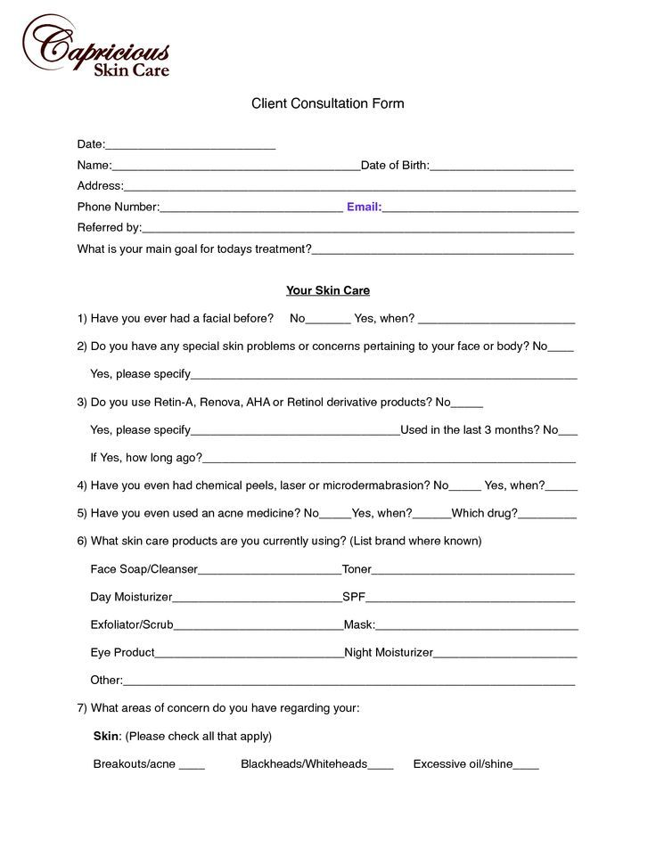 Hair Client Consultation Form Ibovnathandedecker