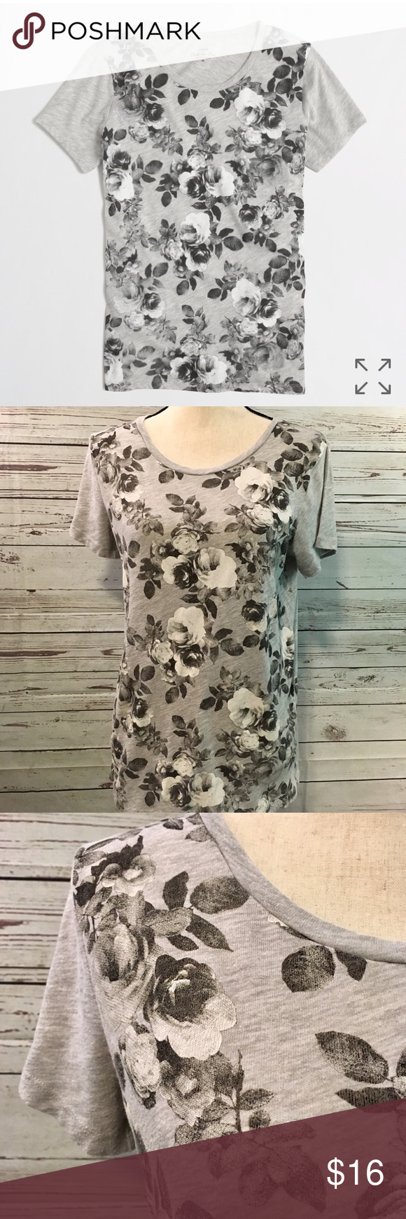 """16fb780f33a J Crew Collectors Tee Cute photographic floral collectors tee in airy  cotton. Like new! 20"""" pit to pit 26"""" length Perfect condition and so cute  for spring!"""