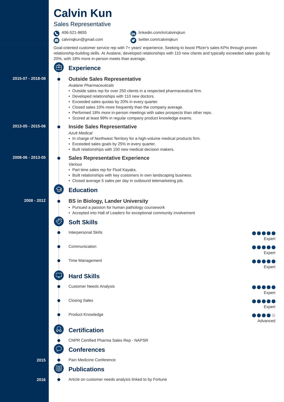 sales representative resume template concept in 2020