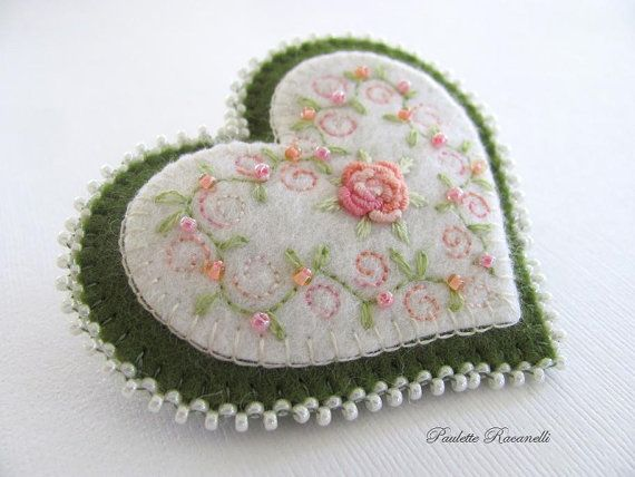 Felt Heart Pin / Felt Heart Brooch by Beedeebabee on Etsy