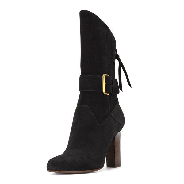 Women's Black Chelsea Boots Suede Round Toe Chunky Heels