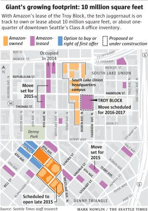 Amazon South Lake Union Campus Map.Amazon Devouring Quarter Of Seattle S Best Office Space The