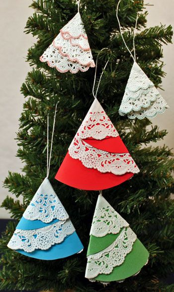Easy Christmas Crafts Paper Doily Folded Christmas Tree Ornament