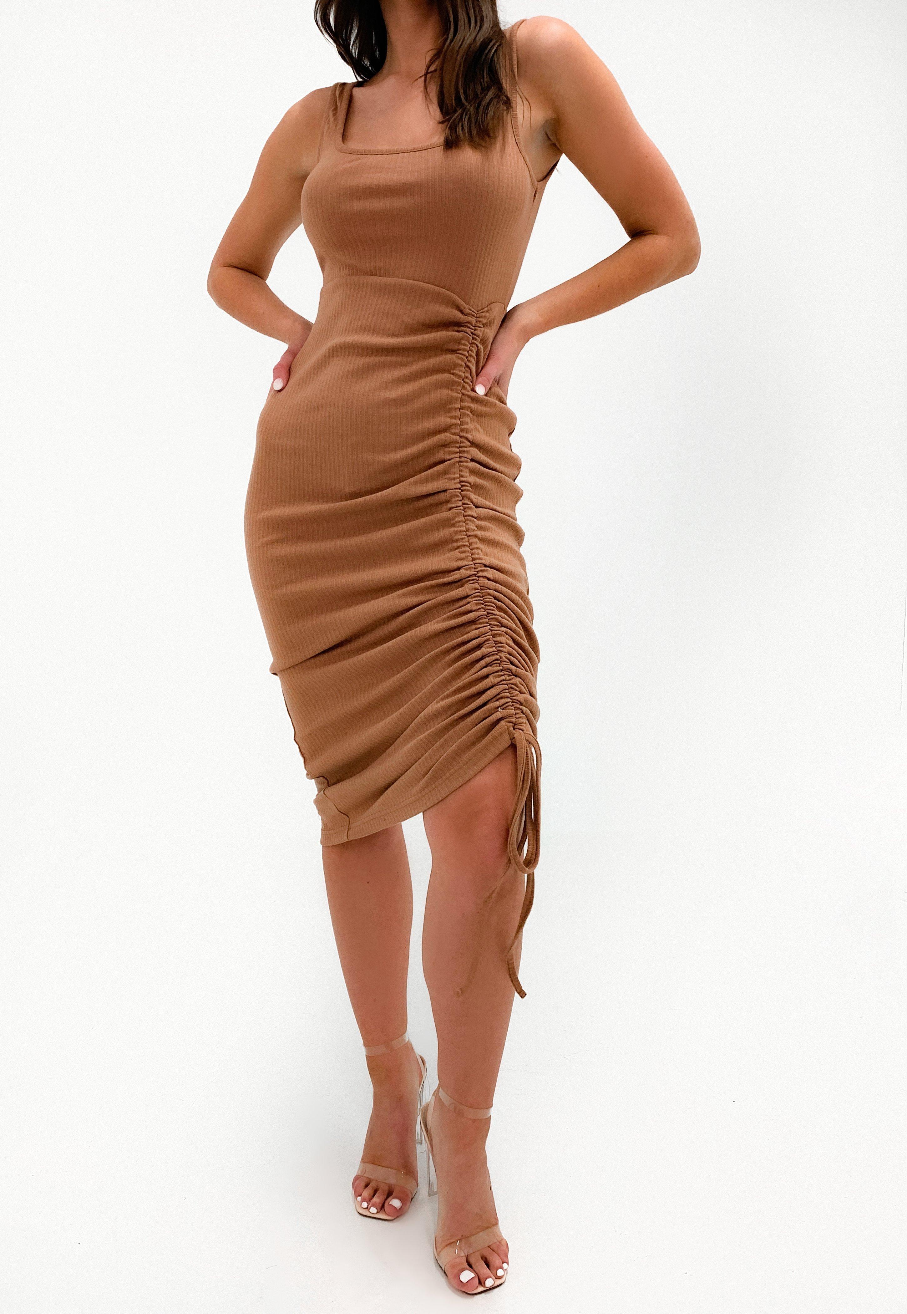 Missguided Tan Rib Ruched Front Midi Dress Tan Midi Dress Ribbed Midi Dress Ribbed Bodycon Dress [ 4200 x 2900 Pixel ]